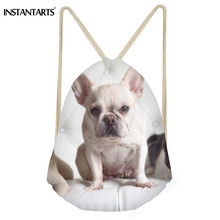 INSTANTARTS Fashion Small Drawstring Bag Women Men Casaul French Bulldog Backpack 3D Cute Dog Print Lady String Shoulder Bagpack