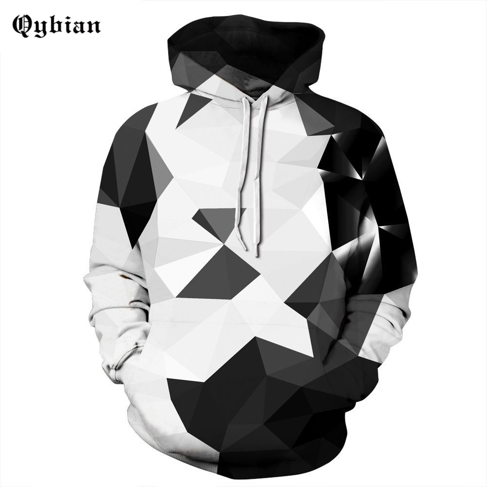 Qybian 3D Sweatshirts Men/women  Black White Diamond Print  Hooded Hoodies Sweatshirts  Pullover Tops Hoody Male