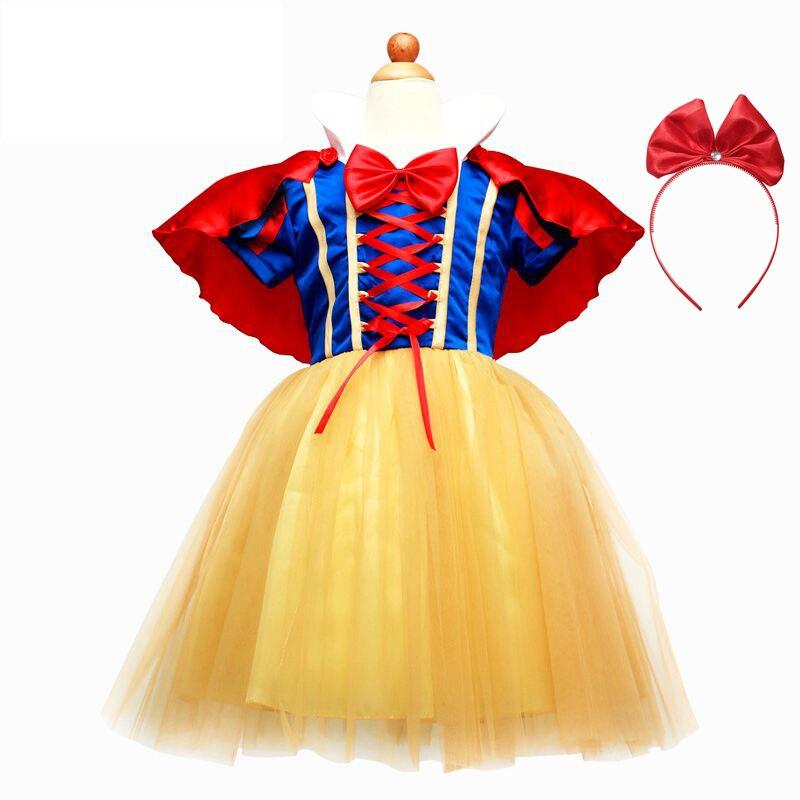 VOGUEON Kleine Mädchen Prinzessin Schneewittchen Dress up Kostüm Kinder Hauchhülse Prom Cosplay Kostüm mit Cape und Stirnband