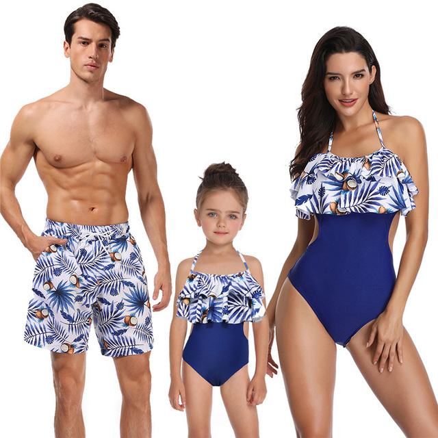 Dad Son Swimwear Beach Bath Swimsuits Family Look Bikini Mommy And Me Clothes Mom And Daughter Matching Dresses Outfits