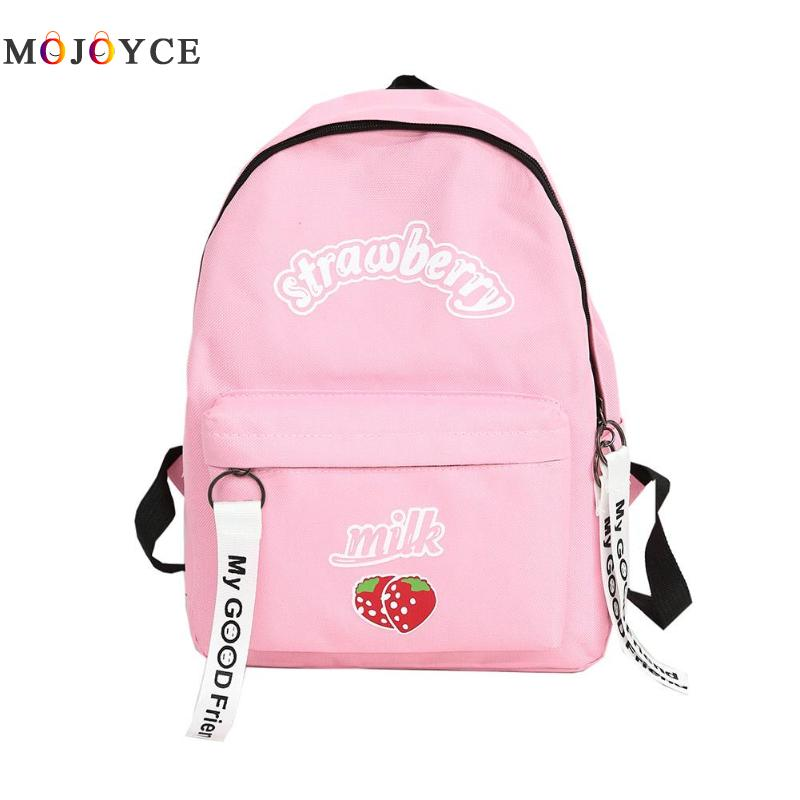 Preppy Style Girls Backpack Knapsack Strawberry Milk Printed Rucksacks Canvas Backpack Student School Bag