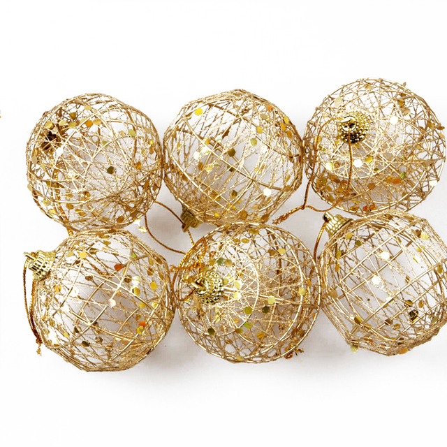 6pcs christmas tree ornaments diy rattan ball gold dust scaly christmas balls string fairy xmas decoration