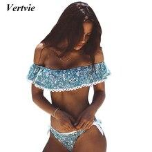 Vertvie Summer Light Blue Floral Pattern Strapless Off Shoulder Women Sexy Slit Bikini Set Swimwear Women Beach Bathing Swimsuit