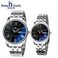 Negro azul claro quartz_watch hombres wirstwatch mujeres amantes de los relojes calendario completo reloj de vestir par