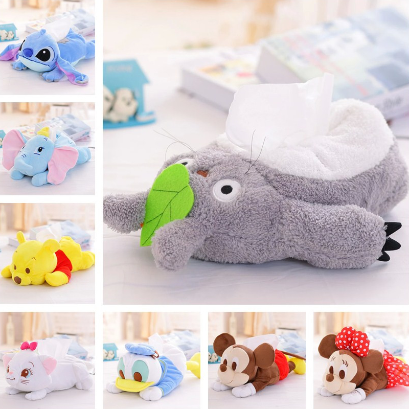 lovely cartoon plush toy Totoro Stitch Michey Marie cat cat donald duck Dumbo Tissue Box Cover Paper Towel Cases gift 1pc marie cat сумочка marie cat