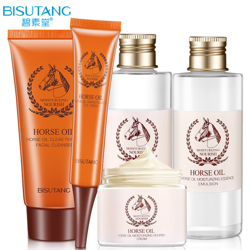 BISUTANG Horse Oil Essence Skin Care Set Oil Control Face Cleanser Moisturizing Whitening Toner Face Cream Serum Eye Cream men skin care cream set 3pcs lot cleanser toner emulsion moisturizing oil control shrink pores anti wrinkle face care