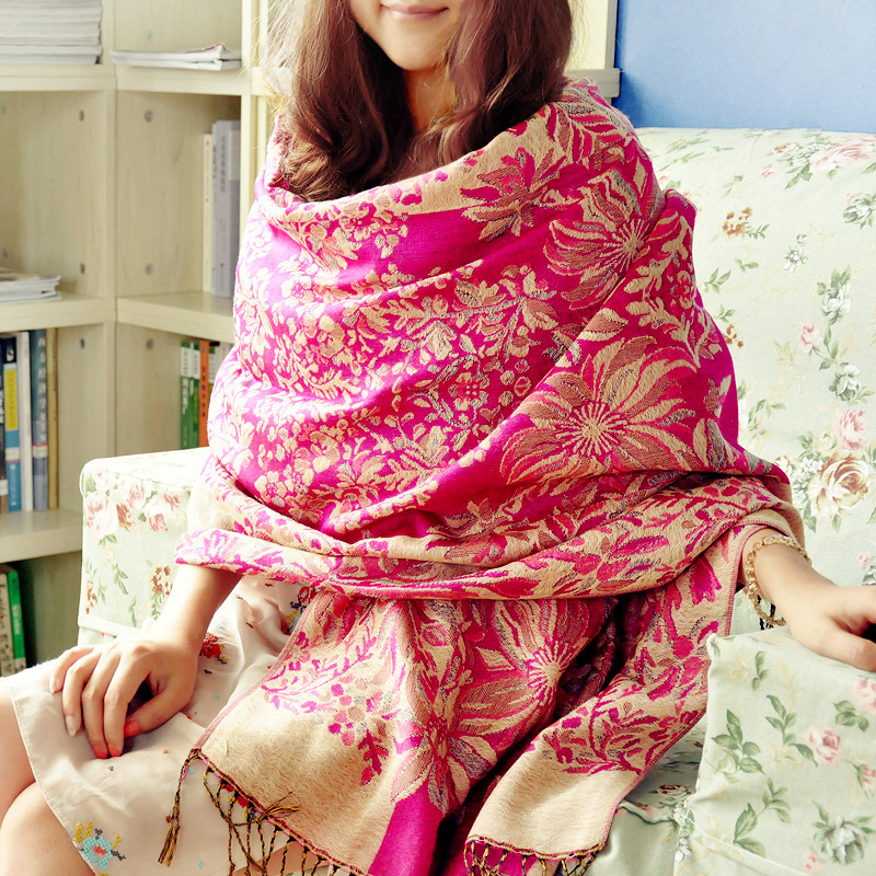 Kiváló minőségű téli sál női sál 190 * 70 cm hosszú, színes, színes, lágy jacquard nővér kendő