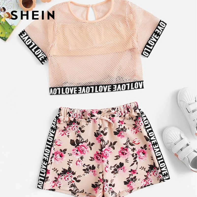 SHEIN Kiddie Fishnet Mesh Letter Print Blouse With Floral Drawstring Shorts Girls Two Piece Set 2019 Summer Casual Clothes Sets off shoulder floral print blouse