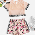 SHEIN Kiddie Fishnet Mesh Letter Print Blouse With Floral Drawstring Shorts Girls Two Piece Set 2019 Summer Casual Clothes Sets