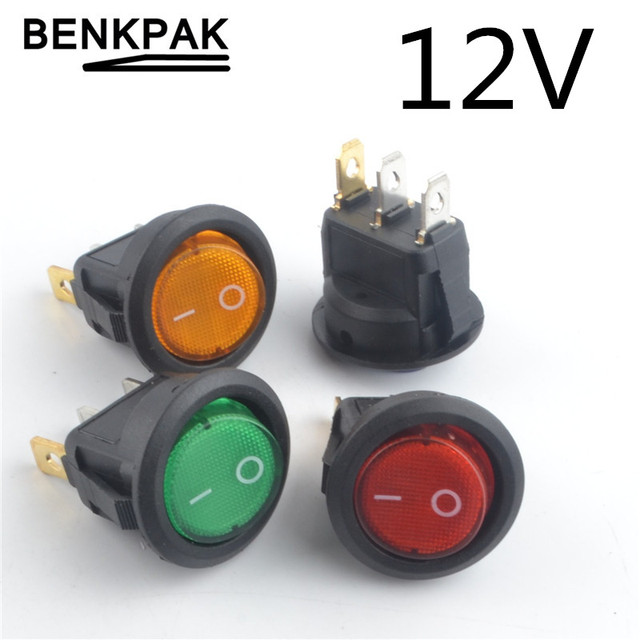 US $0 65 |4PCS 12V LED illuminuted rocker switch 20A 12V push button switch  Car button lights ON/OFF Round Rocker Switch Dash Boat-in Switches from