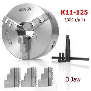 3-Jaw Lathe-Chuck Drilling K11-125 Self-Centering SANOU 125mm for Reversible-Tool Hardened