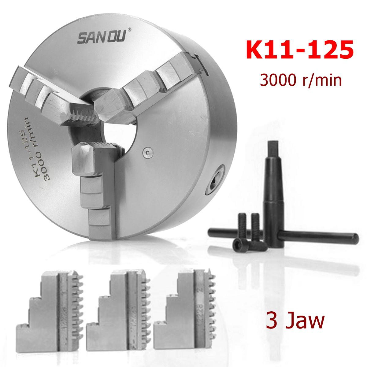 SANOU K11-125 3 Jaw Lathe Chuck 125mm Self Centering Hardened Reversible Tool For Drilling Milling Machine