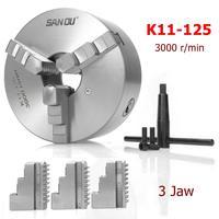 SANOU K11 125 3 Jaw Lathe Chuck 125mm Self Centering Hardened Reversible Tool for Drilling Milling Machine