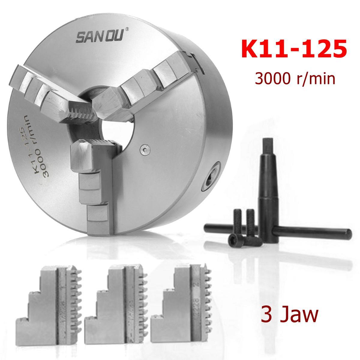SANOU K11-125 3 Mandíbula Mandril Torno 125 milímetros Auto Centering Hardened Reversível Ferramenta para a Máquina De Trituração De Perfuração
