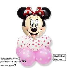 (11pcs/lot)Minnie head foil balloon set mixed style latex ballon for kid birthday party minnie
