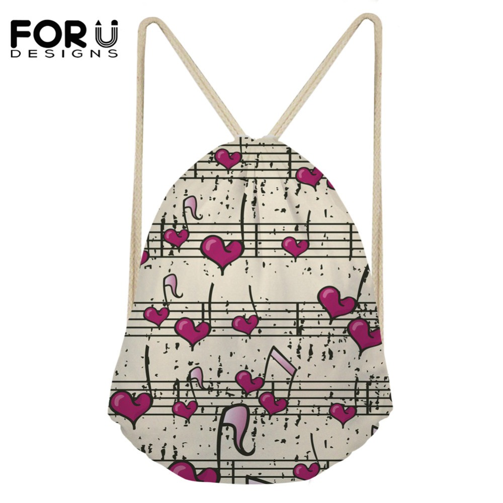 FORUDESIGNS 3D Heart Music Print Drawstring Bag For Women's Soft Ladies Shopping Bag Travel Storage Casual Girls Rucksack Bags