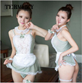 new women sexy lingerie hot lace French Maid hat+lingerie+t-pant+collar+hand accessories sexy costume erotic Lingerie set