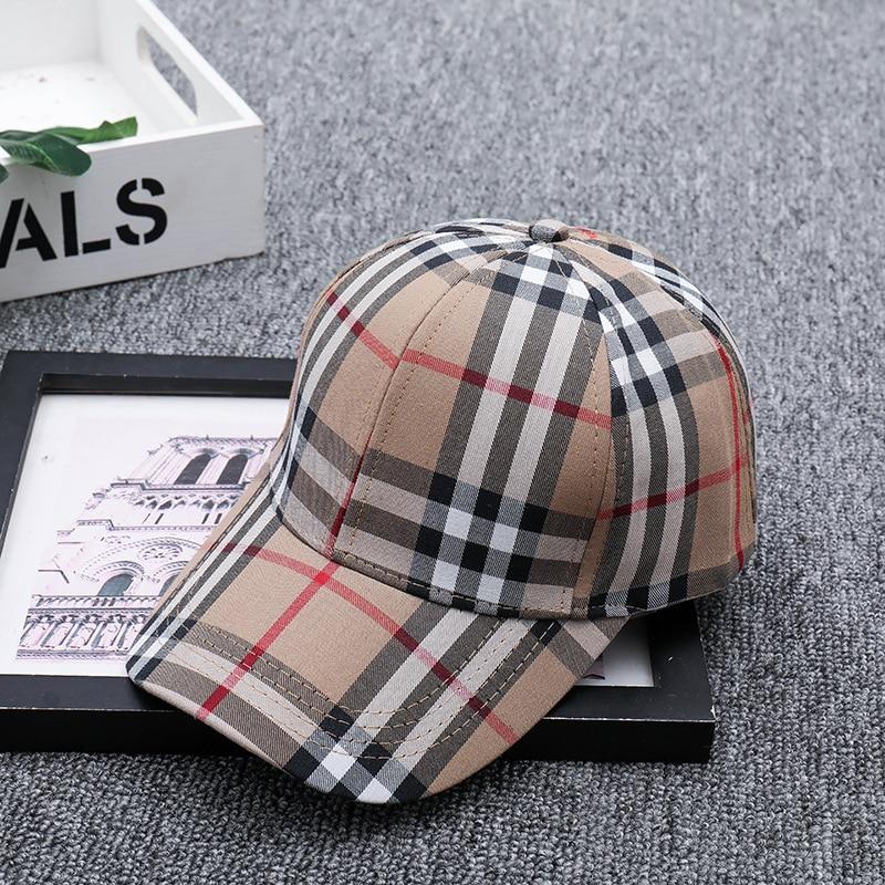 Baseball Caps Fashion Snapback Hat Women Girls Summer Full Cap Cotton Lattice Korean Letters Embroidered Mens And Womens