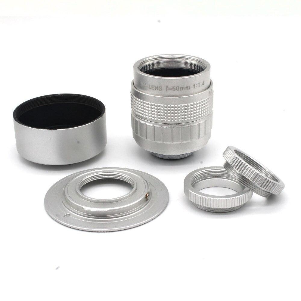 Silvery 50mm f1.4 C Mount CCTV camera Lens+ Macro Ring+ C to NEX Adapter+ hood FOR SONY EM5 GF5 GX1 GH3 Free shipping 1pcs free shipping for huawei gx1 touchscreen