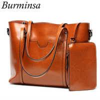 Burminsa 2 Pcs/Set Big Women Genuine Leather Handbags Work Tote Shopping Bags Ladies Shoulder Messenger Bags Female Purse 2019