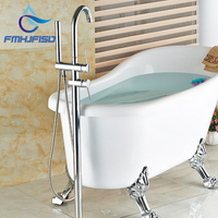 Wholesale And Retail Polished Chrome Brass Bathroom Tub Faucet Floor Mounted Tub Filler W Hand Shower