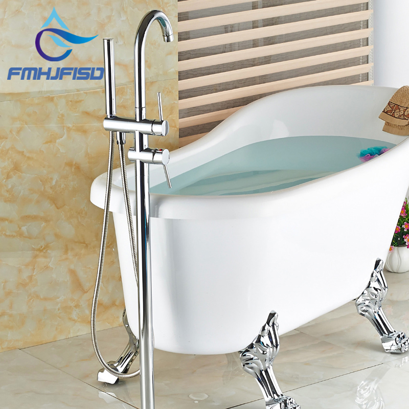 Wholesale And Retail Polished Chrome Brass Bathroom Tub Faucet Floor Mounted Tub Filler W/ Hand Shower Swivel Spout Shower wholesale and retail promotion wall mounted bathroom tub faucet spout w hand shower sprayer antique brass shower mixer tap