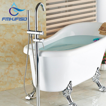 Wholesale And Retail Polished Chrome Brass Bathroom Tub Faucet Floor Mounted Tub Filler W/ Hand Shower Swivel Spout Shower