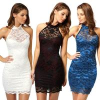 Summer Women Dress Sexy Halter Bodycon Sleeveless Backless Dresses Casual Black Lace Night Club Dress Prom