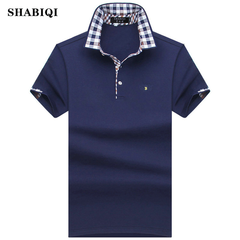 SHABIQI 2018 Fashion Men   Polo   Shirt Summer Short Sleeve   Polos   Shirt Mens Striped collar Shirt 95% Cotton Plus Size S-10XL