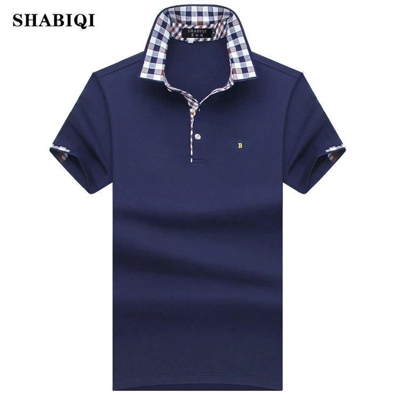 SHABIQI 2019 Fashion Men Polo Shirt Summer Short Sleeve Polos Shirt Mens Striped collar Shirt 95% Cotton Plus Size S-10XL