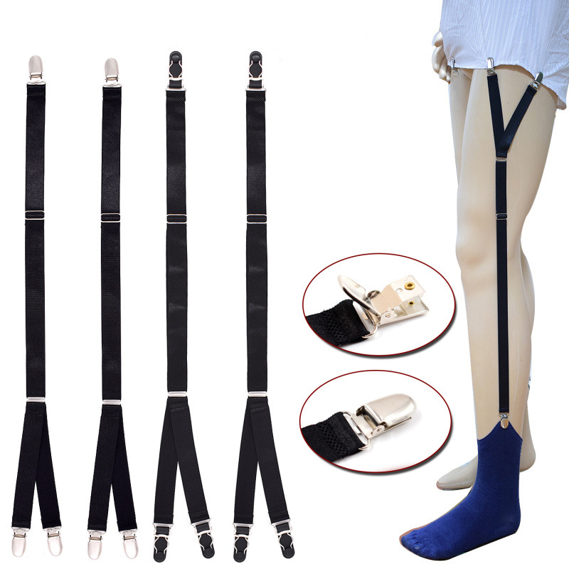 Helisopus 1 Pair Men's Shirts Suspenders Elastic Adjustable Buckle Fastener Garters Men Shirt Holders Socks Garters