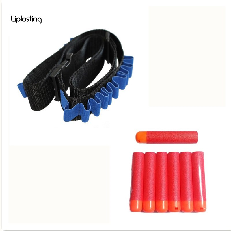 Синие детские игрушечный пистолет пуля плечевой ремень Дартс боеприпасы хранения держатель + 12 шт. мягкие пополнения пена пуля Дартс для nerf ...