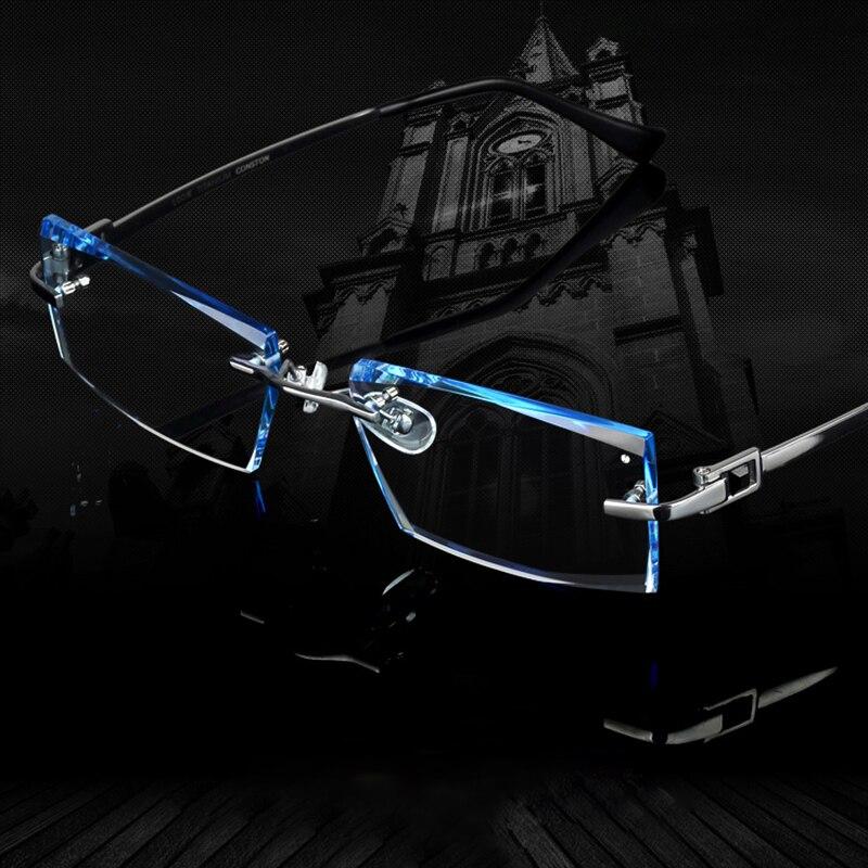 9bde59bdd7 Men Glasses Titanium Rimless Eyeglasses Myopia Male Business Prescription  Glass Progressive Lenses Optical Frames Clear Eyewear-in Prescription  Glasses from ...