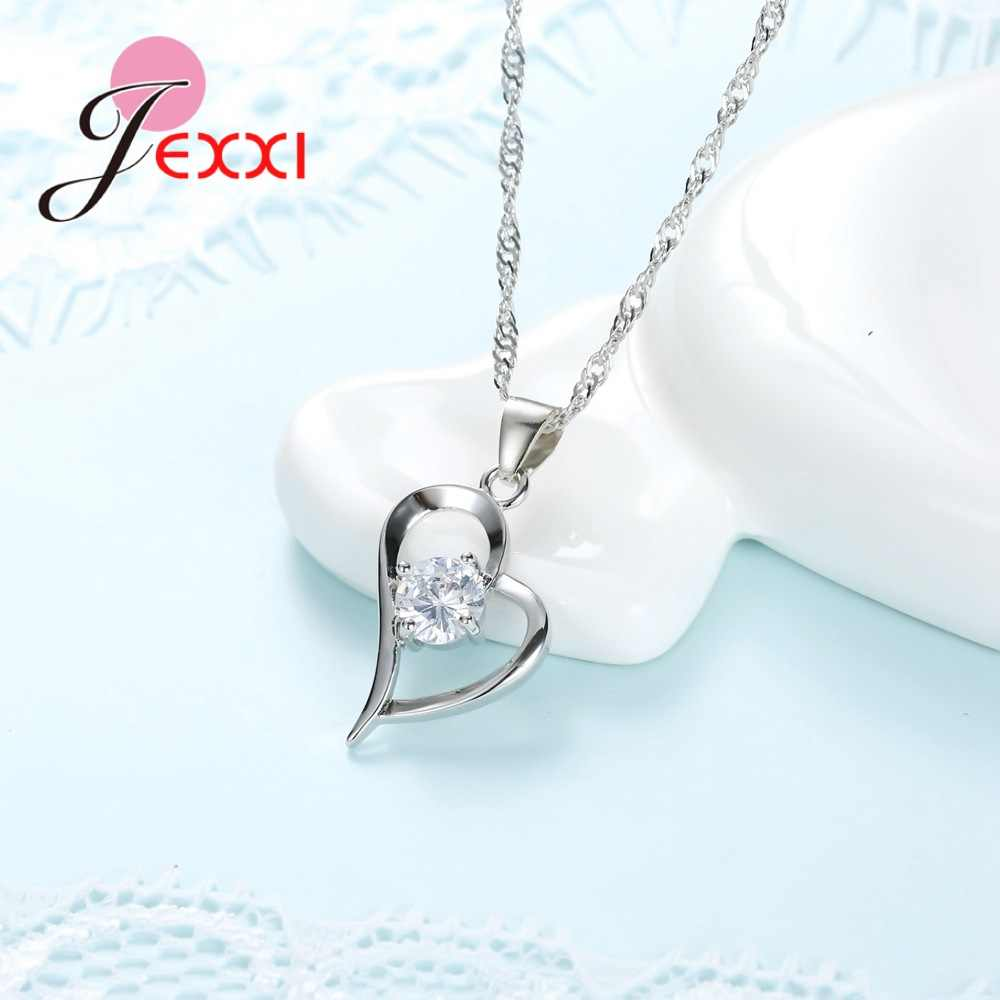 925 Sterling Silber Hochzeit Schmuck Sets Romantische für Frauen Liebe Herz Hohl Anhänger Halsketten Ohrringe Für Hochzeit