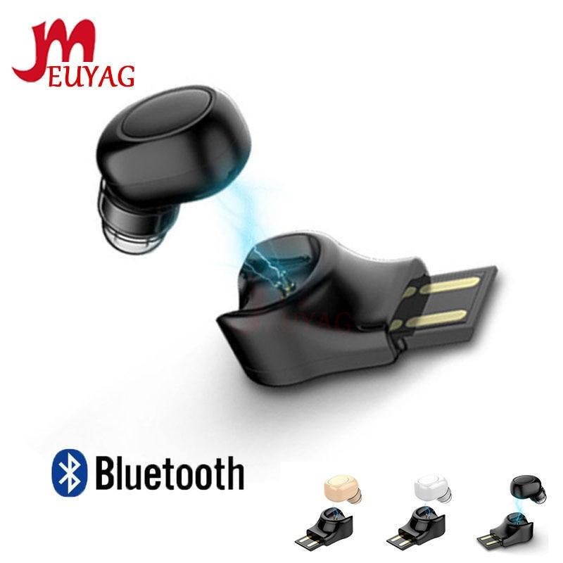MEUYAG New USB Charging Mini Bluetooth Earphone Wireless Headset Stereo Hidden Micro Earpiece For IPhone X 7 Earbud Earphones