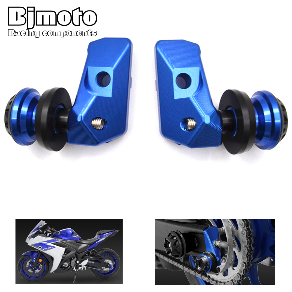 ФОТО Blue Motorcycle Alloy CNC Rear Axle Spindle Chain Adjuster Blocks with Spool Sliders Kit For Yamaha YZF R3 YZF R25 MT 03 MT 25