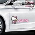 2 unids hello kitty car puerta pegatinas lindo colorido encantador de la mascota material calcomanías moto accesorios del coche protector solar resistente al agua