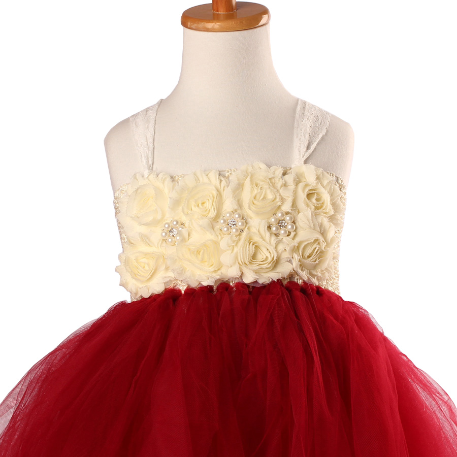 Handmade Shabby Flower Girl Tutu Dress Princess Kids Wedding Tulle Dress for Girls Birthday Party Pageant Ball Gowns Clothes (8)