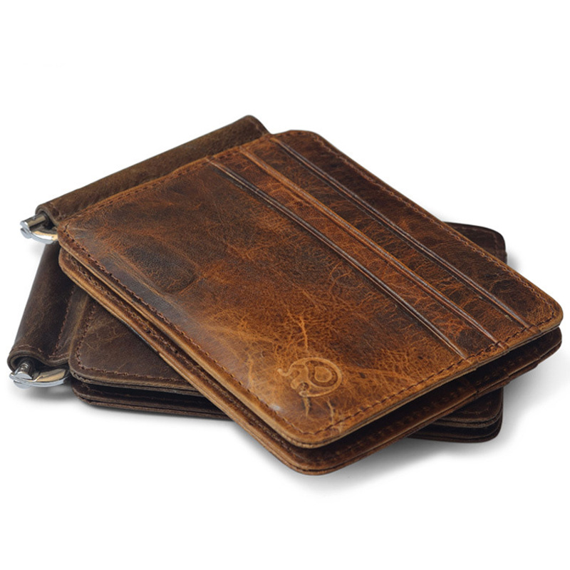 New Arrival Vintage Men's Genuine Leather Money Clip Wallet With 12 Card Slots Money Clamp Purse For Man