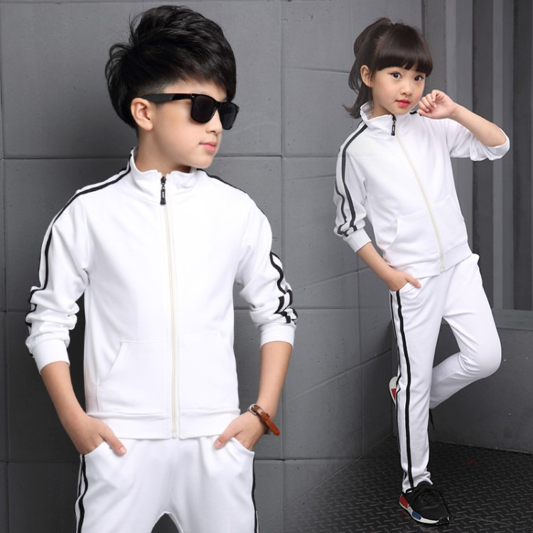 Image 2 - Teenager Boys Clothing Sport Suit Kids Girls Clothing Set Zipper Jacket+Long Pant 2PCS Striped Children Tracksuit Set for 4 16Y-in Clothing Sets from Mother & Kids