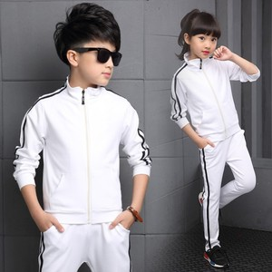 Image 2 - Teenager Boys Clothing Sport Suit Kids Girls Clothing Set Zipper Jacket+Long Pant 2PCS Striped Children Tracksuit Set for 4 16Y