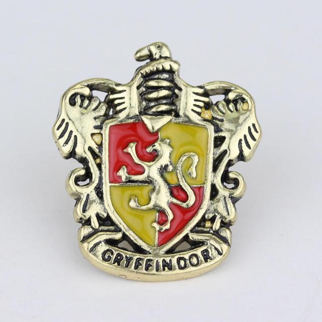 Movie Hp Hogwarts Magic Academy Badge Brooch Gryffindor Hufflepuff Slytherin Ravenctaw School Logo Enamel Pin Broches  by Songchangjewelry