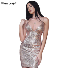 Sexy Deep V Neck Spaghetti Strap Fringe Sequin Low Cut Club Dress Vestidos Mini Pencil Dresses Famale Evening Party Clothing