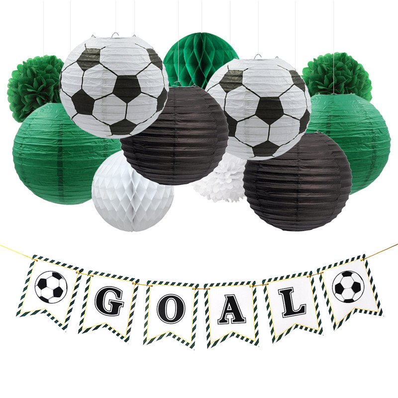 Nicro 17 pcs/ensemble But De Soccer Partie Décoration D'anniversaire Football DIY Décor Papier Lanterne En Nid D'abeille Boule De Fleurs Pompon # Set44