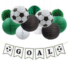 Nicro 17Pcs/Set Soccer Goal Party Decoration Birthday Football DIY Decor Paper Lantern Honeycomb Flower Ball Pompom #Set44