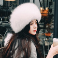 new fashion cute pricess pure white real fox fur hat pom pom decorative beamies winter fur female winter hat sweet cosplay hat