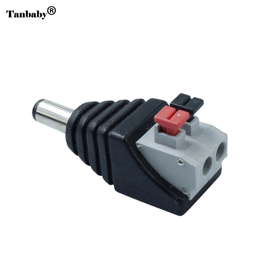 Tanbaby 1Pcs 2.1 x 5.5mm DC Power Male Plug Jack Adapter Connector Plug for CCTV Camera 3528 5050 5630 5730 LED Light 5pcs female 5 pcs male dc connector 2 1 5 5mm power jack adapter plug cable connector for 3528 5050 5730 led strip light