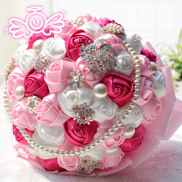 A large pearl pink The bride bouquet artificial wedding bouquets mixed