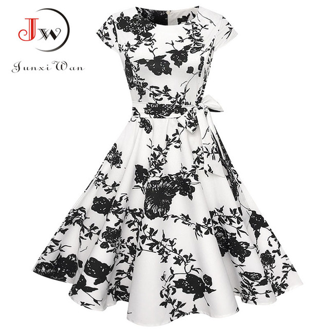 Women Summer Floral Dress 2018 50s Vintage Casual Elegant Print O Neck Party Work Office Dress Retro Rockabilly Vestidos 3