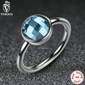 New Pure 925 Sterling Silver Rings Blue Stone Finger Ring Compatible With VRC Women Fashion Jewelry A7183